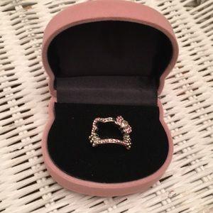 Hello Kitty Face Rhinestone Ring